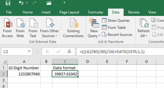 10 digit Unix Timestamp to Date Excel Converter Tutorials