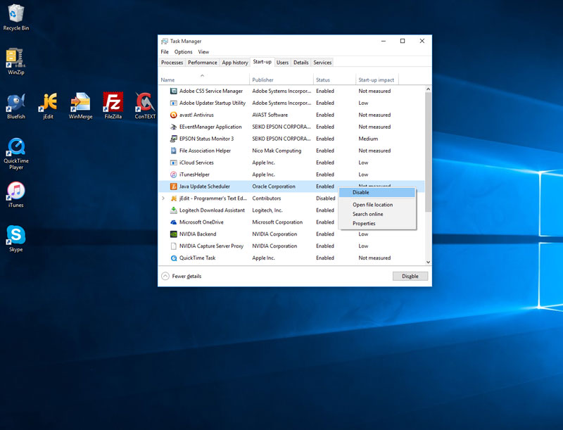 task manager start ups enable disable